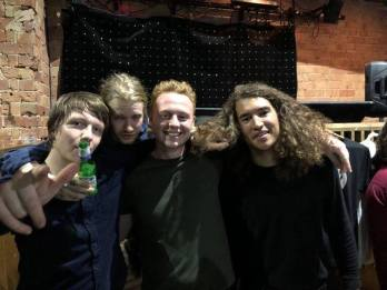 Here was me and ISLAND, but unfortunately the drummer was out the room, so Rollo drew on his hand to replicate him being there, top man!